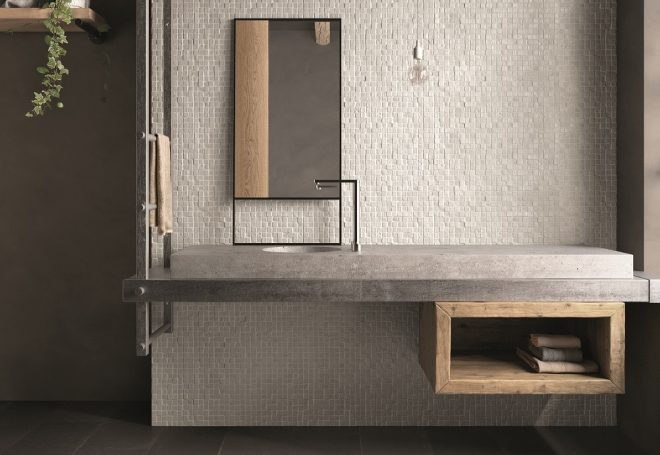 LH Caffe 30x60 Mosaico Ciotolo Bianco 30x30 Amb. Bagno